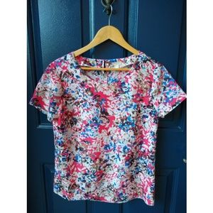 J. Crew | abstract leaf blouse short sleeve blouse